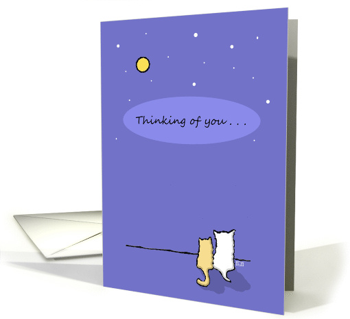 Thinking of You, Cat Dog Looking at Stars Miss You card (50809)