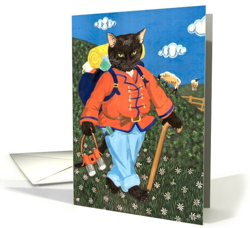 Rambling Freddie (hiking cat) card (429306)