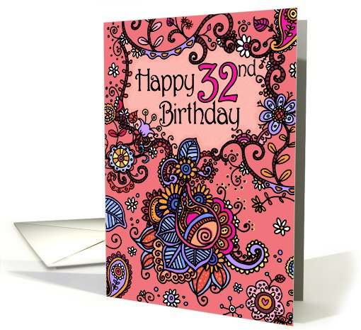 Happy Birthday - Mendhi - 32 years old card (683427)