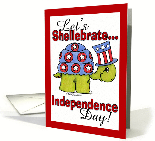 Turtle Shellebrate Independence Day-4th of July Invitation card