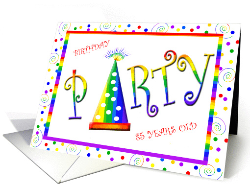 Rainbow 85 Years Old Birthday Party Invitation  card (189200)