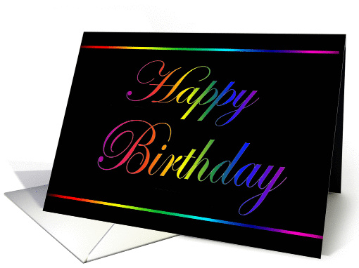 Rainbow Birthday on Black card (247663)