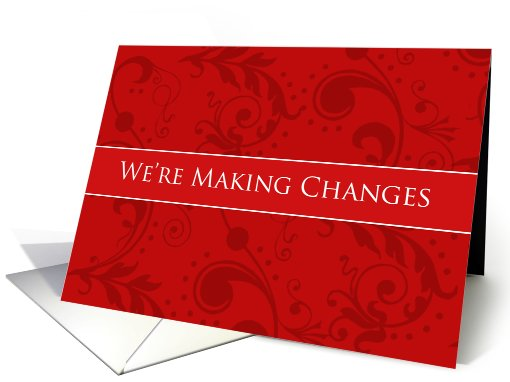 Elegant Red Swirl Business Terms Change Cards Paper card (409242)
