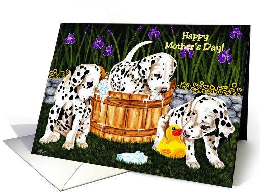 Mother's Day - Dalmatian Puppies Flowers card (598523)