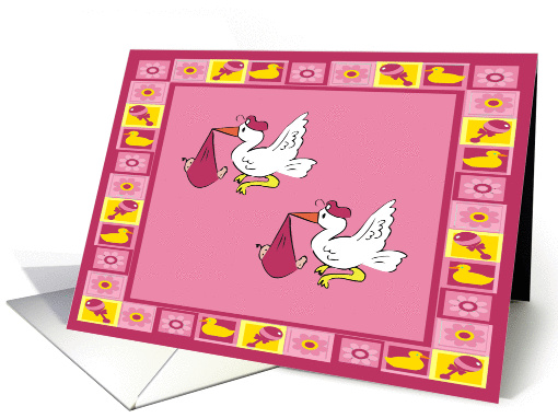 Stork Baby Twin Girls Birth Announcement card (344182)