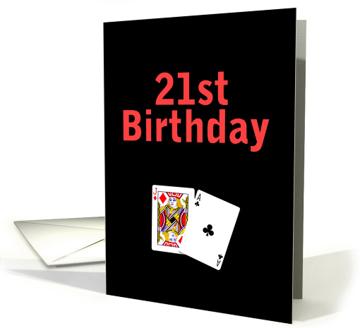 21st Birthday Black Jack card (56691)