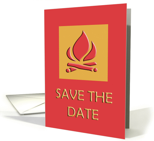 Rose & Tan Campfire Save The Date card (77605)