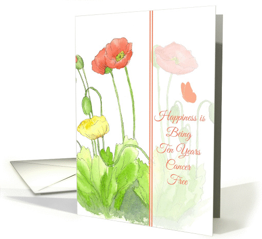 Congratulations Ten Years Cancer Free Poppy Flower Watercolor Art card