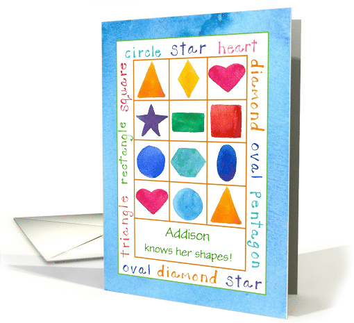 Child Congratulations Learning Shapes Triangle Square Custom Name card