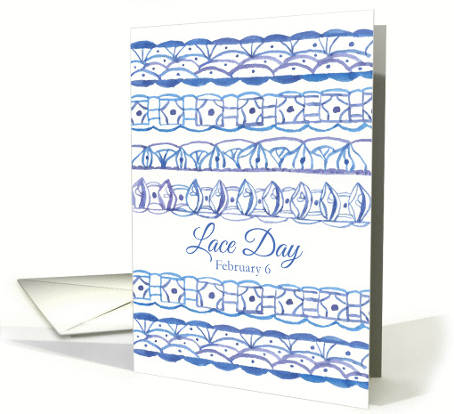 Lace Day February 6 Blue Purple Watercolor Painted Pattern card