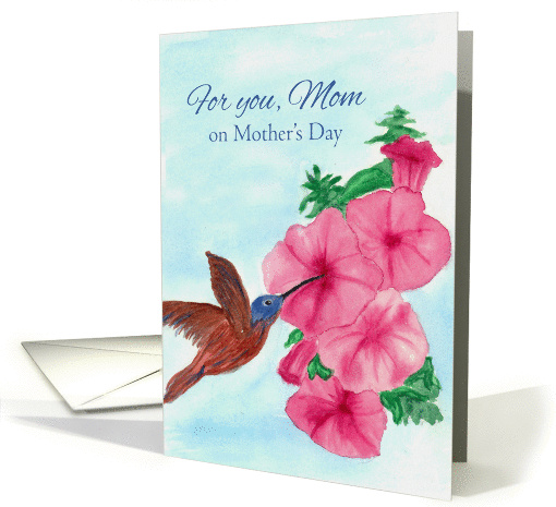 For You Mom On Mother's Day Hummingbird Watercolor Painting card