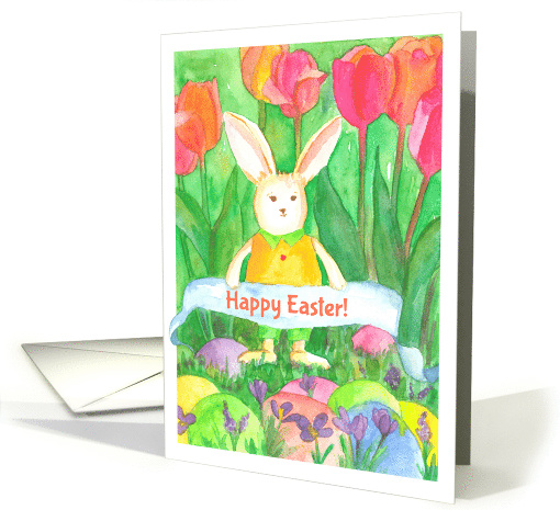 Happy Easter White Bunny Rabbit Tulip Flowers card (156682)