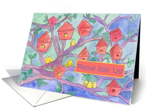 Neighborhood Barbecue Party Invitation Red Birdhouses... (207992)