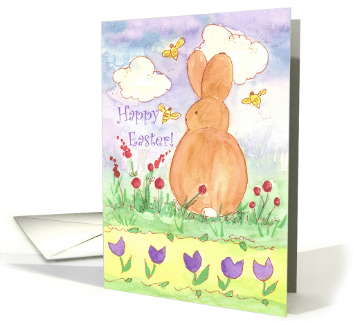 Happy Easter Bunny Bees Watercolor Spring Flower Meadow card (370134)
