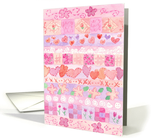 Pink Needlework Sampler Painting Blank Note card (847833)