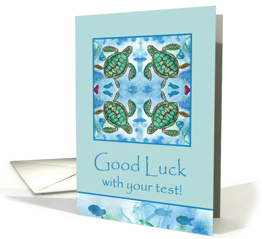 Good Luck With Your Test Turtles Fish Ocean Watercolor card (898330)