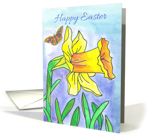 Happy Easter Yellow Daffodil Spring Flower Butterfly card (908476)