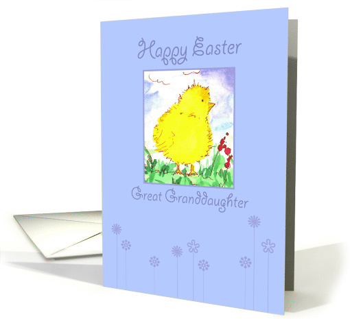 Happy Easter Great Granddaughter Spring Chicken Watercolor card