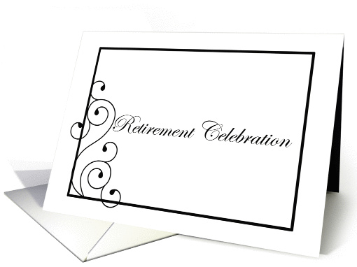 Retirement Party Invitation Black White Elegant card (204950)