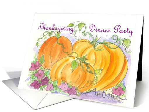 Thanksgiving Dinner Party Invitation Pumpkins Flowers card (208706)