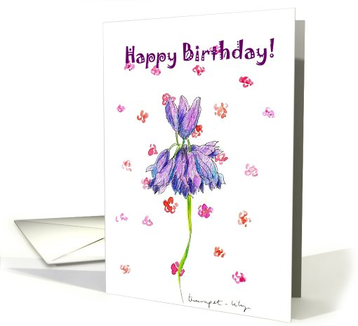 Purple Trumpet Flower Happy Birthday card (357004)