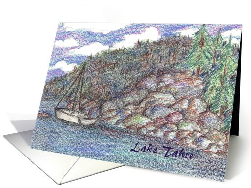 Lake Tahoe Sailing Landscape card (603628)