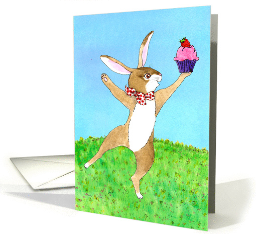 Happy Birthday - Dancing Bunny with Cupcake card (1459388)