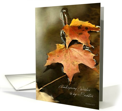 Watercolor Leaves - Brother's Thanksgiving card (443678)