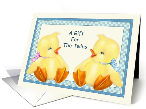 Baby Ducks -Twins Boy Girl Baby Shower Gift card (798286)
