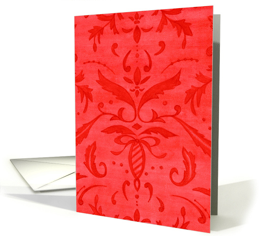 Christmas Thank You Red Damask Pattern card (116948)