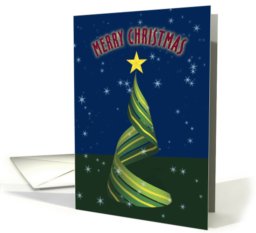 Merry Christmas with Ribbon Cristmas Tree card (1138558)