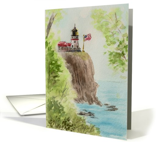 Birthday Watercolor Art Card Lighthouse American Flag... (169914)