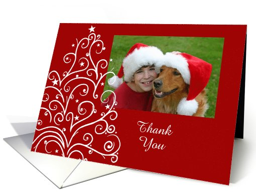 Christmas Tree Thank You Photo Card Red and White card (858819)