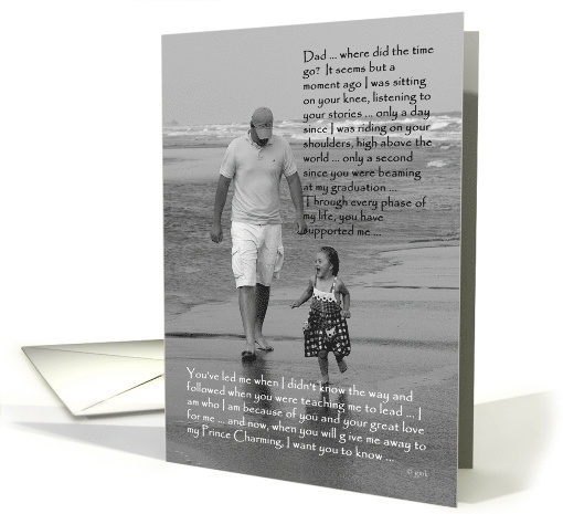 Bride to Father: father and daughter on beach card (239191)