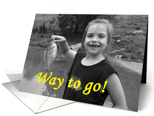 Congratulations, lost a tooth:   girl with fish card (169335)