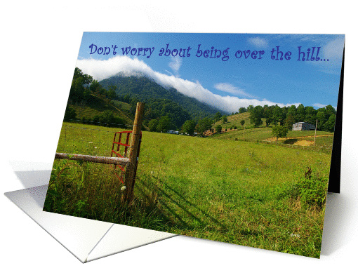 Birthday - over the hill:  Mountain in clouds card (244467)