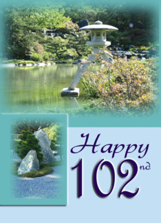 Grandpa Happy 102nd Birthday - Japanese garden card (467777)