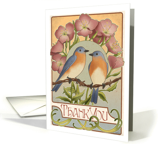 Bluebirds and Primrose - Thankyou card (146892)