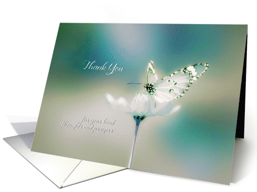 Thank you for your kind thoughts and prayers, white butterfly card
