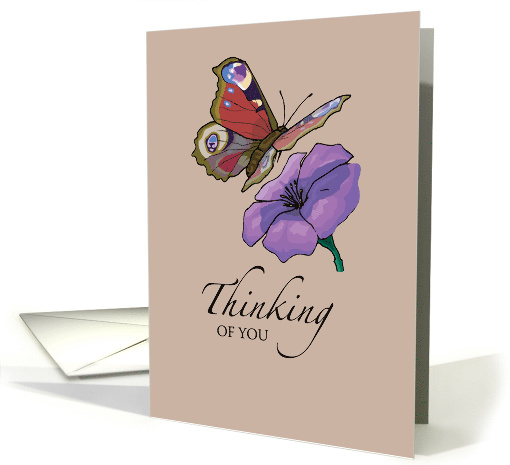 Thinking of You, Butterfly with Flower, Hello card (152774)