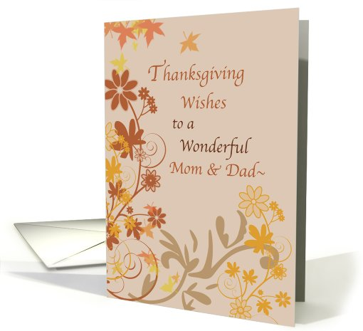 Thanksgiving Wishes, Mom and Dad card (269376)