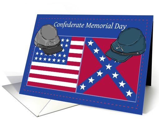 Confederate Memorial Day Hats and Flags card (613364)