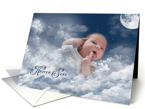 Baby Girl Announcement- Baby in clouds with moon and stars card