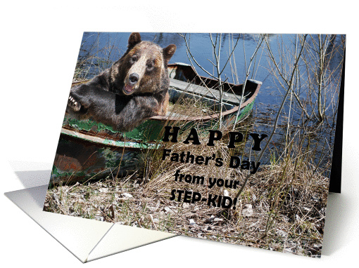 Step-Dad's Father's Day - smiling bear in a rusty row boat card
