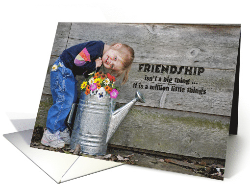 Birthday for Friend-smiling little girl with watering can card
