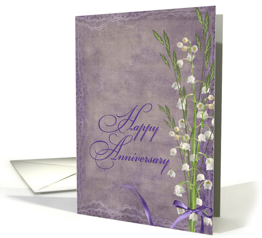 Anniversary - lily of the valley bouquet with lace border card