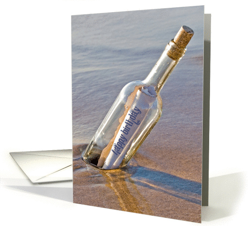 Birthday and Miss You message in a bottle card (838553)