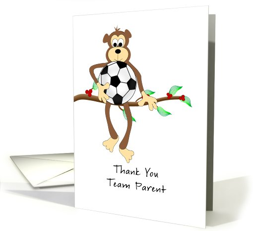 Thank you Team Parent-Monkey and Soccer Ball card (821722)