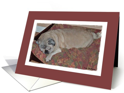 Impressionistic Watercolor ... Sleeping Pug card (435279)