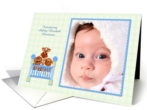 Zoo Animals, Crib, Baby Photo Announcement card (900654)